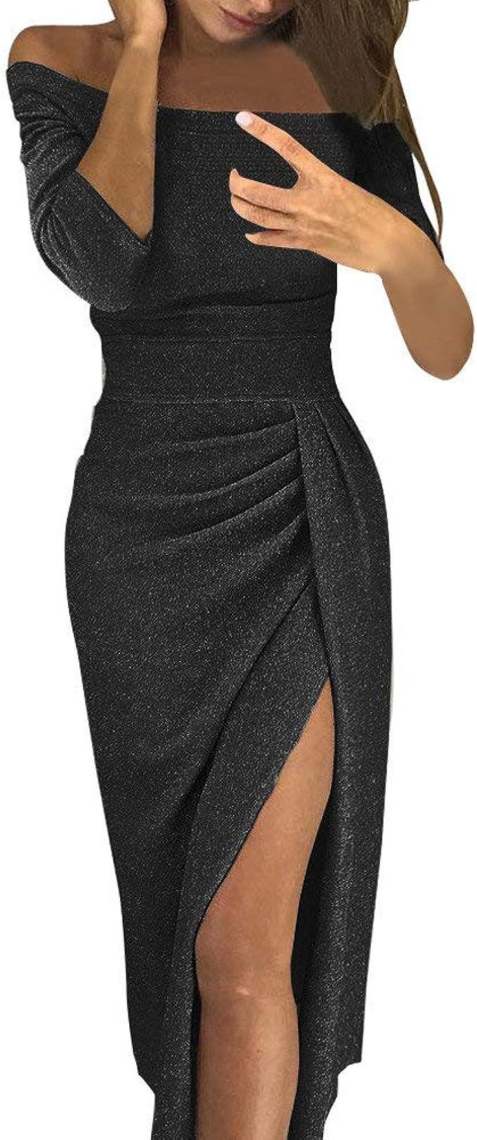 BaZhaHei Damen Schulterfreies Kleid Paillettenkleid Cocktailkleid