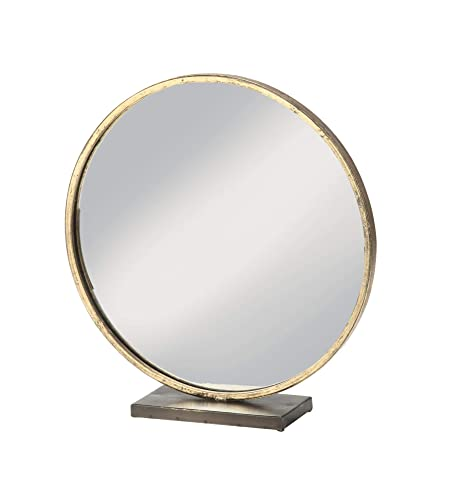 Large Loft Style Gold Beveled Round Mirror in Antique Brass Frame – Table Top Makeup Decor – 16