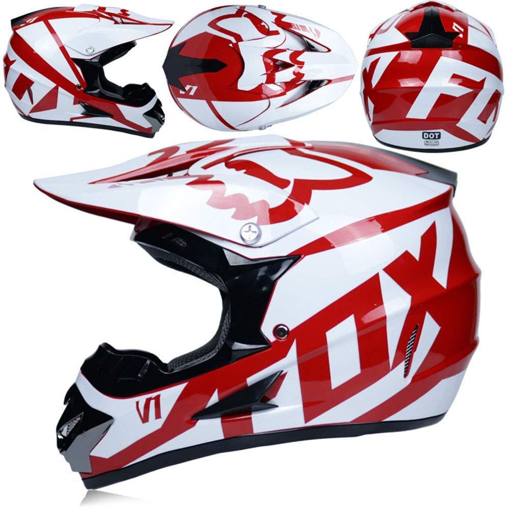 4-teiliges Set Wei/ß 54~55cm M NJMSC Adult Crosshelm MX Motorradhelm Roller ATV Helm Stra/ßenrennen DOT zertifiziert Rosa mit Handschuhe winddicht Maske Brille