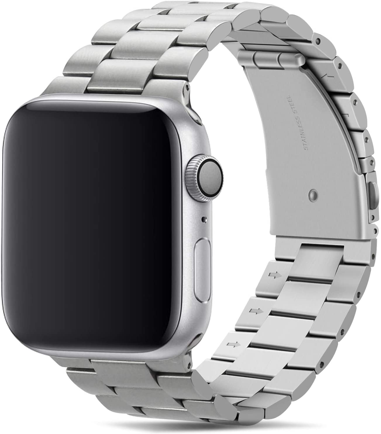Tasikar Band Compatible with Apple Watch Band 44mm 42mm Premium Stainless Steel Metal Replacement Strap Compatible with Apple Watch Series 6 5 4 3 2 1, SE (Silver)