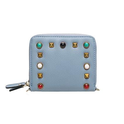 Cartera de Mujer pequeña Piel Monedero de Elegante y Moda Azul para Niña por ESAILQ G