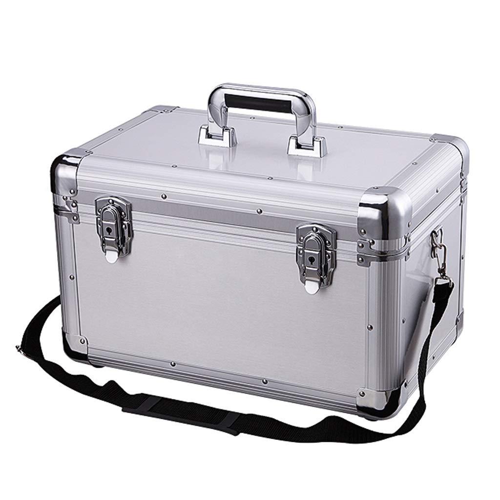 Xuping shop 家庭用医療箱、2層健康応急処置ケース、金属緊急キット収納ボックス、ロック応急処置キット (色 : シルバー しるば゜)  シルバー しるば゜ B07RTT9LTZ