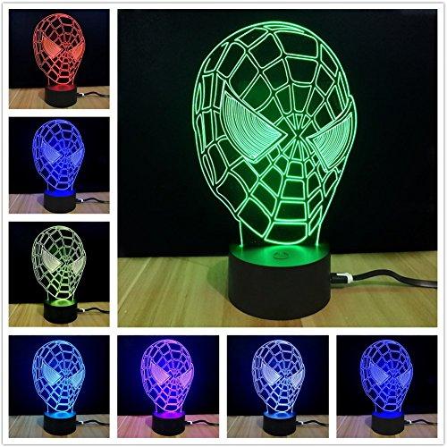 Najer 3D Superhero Spider Man Shape Bedroom Decorative Night Multi 7 Color Change USB Touch Button LED Desk Table Light Lamp