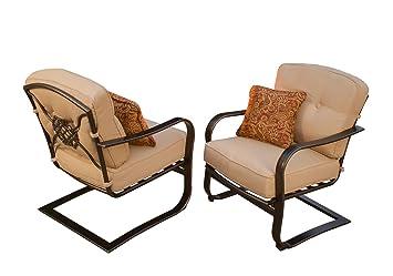 CC Outdoor Living Juego de Dos sillas de muelles Modernas y rústicas con Respaldo de medallón