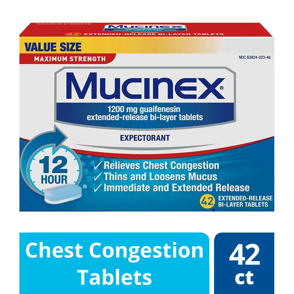 Chest Congestion, Mucinex Maximum Strength 12 Hour Extended Release Tablets, 42ct, 1200 mg Guaifenesin with extended relief of  chest congestion caused by excess mucus, thins and loosens mucus by Mucinex