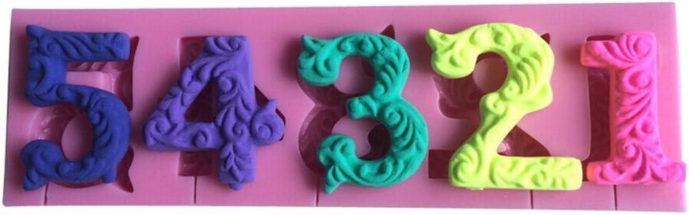 EPRHY 0-9 Chiffres 3D Moule en Silicone pour d/écoration de g/âteau Rose