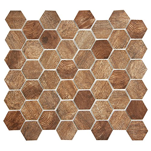 - Brown Hexagon Wood Pattern Recycled Glass Tile for Backplashes, Wall, Floors (4 x 6 Inch Sample) (Recycled Glass Floor Tile)