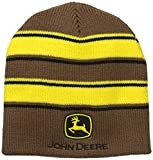 John Deere Men's Stripe Beanie, Brown, One Size