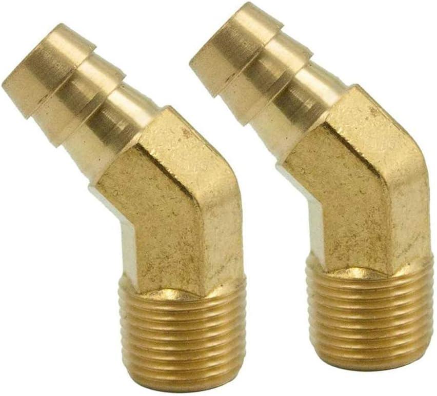 Legines Brass Hose Barb Fitting, 45 Degree Elbow, 1/2
