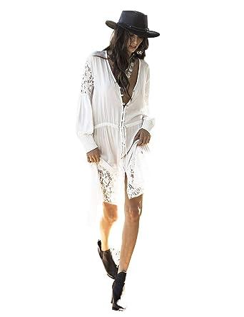 Vestido de Playa Encaje V-Cuello Traje Ropa de Baño para Mujeres ...