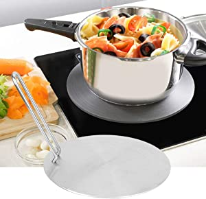 【???????????????????????? ???????????????? ????????????????】Heat Induction Plate, Stainless Steel Heat Diffuser Induction Plate Adapter Converter Gas Electric Cooker Plate(22cm)