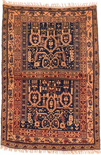 """eCarpet Gallery Hand-Knotted Finest Mouri 3'2"""" x 4'8"""" Wool Rug, Dark Navy, Dark Orange from eCarpet Gallery"""