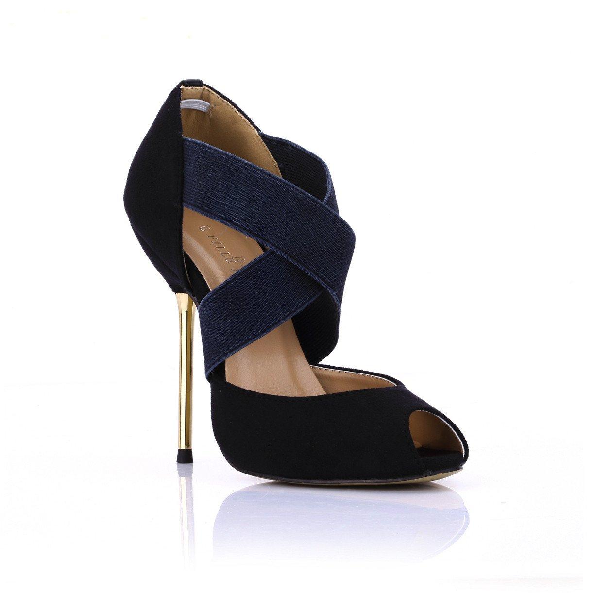 Noir La pointe du poisson le haut-talon magnifique printemps nouveau noir chaussure unique dîner sexy femme chaussures à haut talon US8   EU39   UK6   CN39
