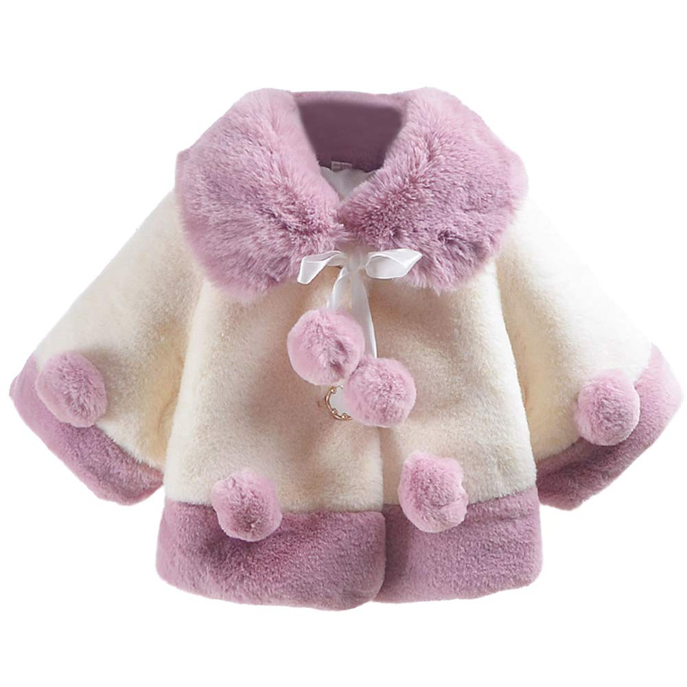 Aivtalk Baby Girls Winter Fur Cape Coat Thick Jacket Cute Pom Pom Warm Outercoat