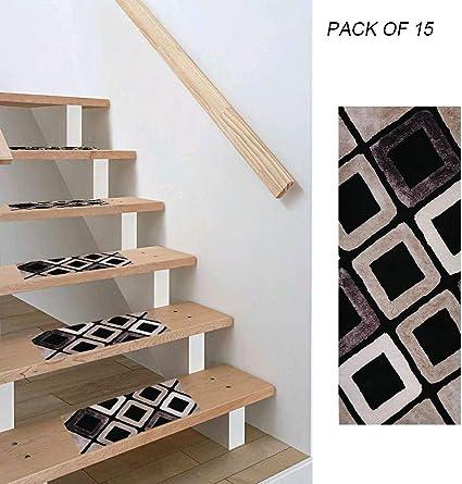 """Tapis Depot Set de 13 Contemporary antidérapants Tapis d/'Escalier Marches 26/"""" X 9/"""" Beige"""