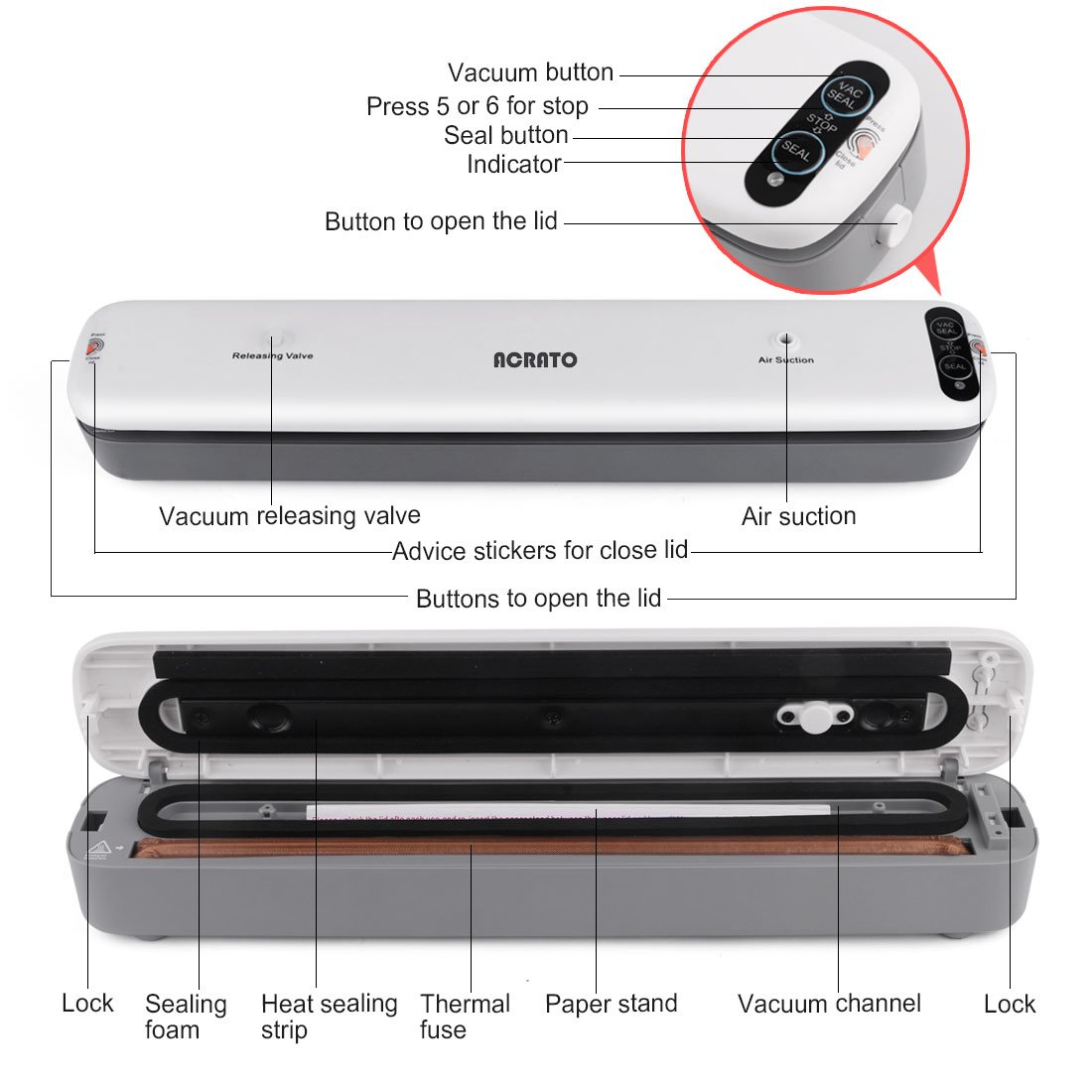 Vacuum Sealer, ACRATO Food Vacuum Packing Machine with Vacuum Hose Automatic Vacuum Sealing System Plus 5 FREE Sealer Bags for Kitchen Dry&Moist Food Preservation Clothing Paperwork Jewelry