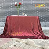 LQIAO Burgundy 225x300cm Burgundy Sequin Tablecloth Shimmer Sequin Fabric Wedding Table Cloth Party Linen for Birthday Wedding Cake Dessert Table Exhibition Events
