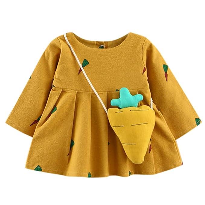 JYC Vestido para Niñas, Vestidos Bebe Niña, Linda Niñito Bebé Niña Zanahoria Impresión Largo Manga Princesa Vestido+Bolsa pequeña: Amazon.es: Ropa y ...