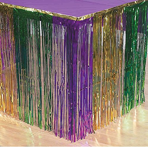 GIFTEXPRESS 2 Pack Mardi Gras Metallic Fringe Table Skirts, Mardi Gras Party Table Skirt (Gold Green Purple, 2-pack)