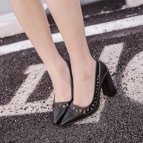 LvYuan-mxx Sandalias de las mujeres / verano y primavera / PU hueco retro / talón grueso / punta del dedo del pie boca baja / Oficina y carrera / vestido / casual / zapatos de tacón alto , black BLACK-38