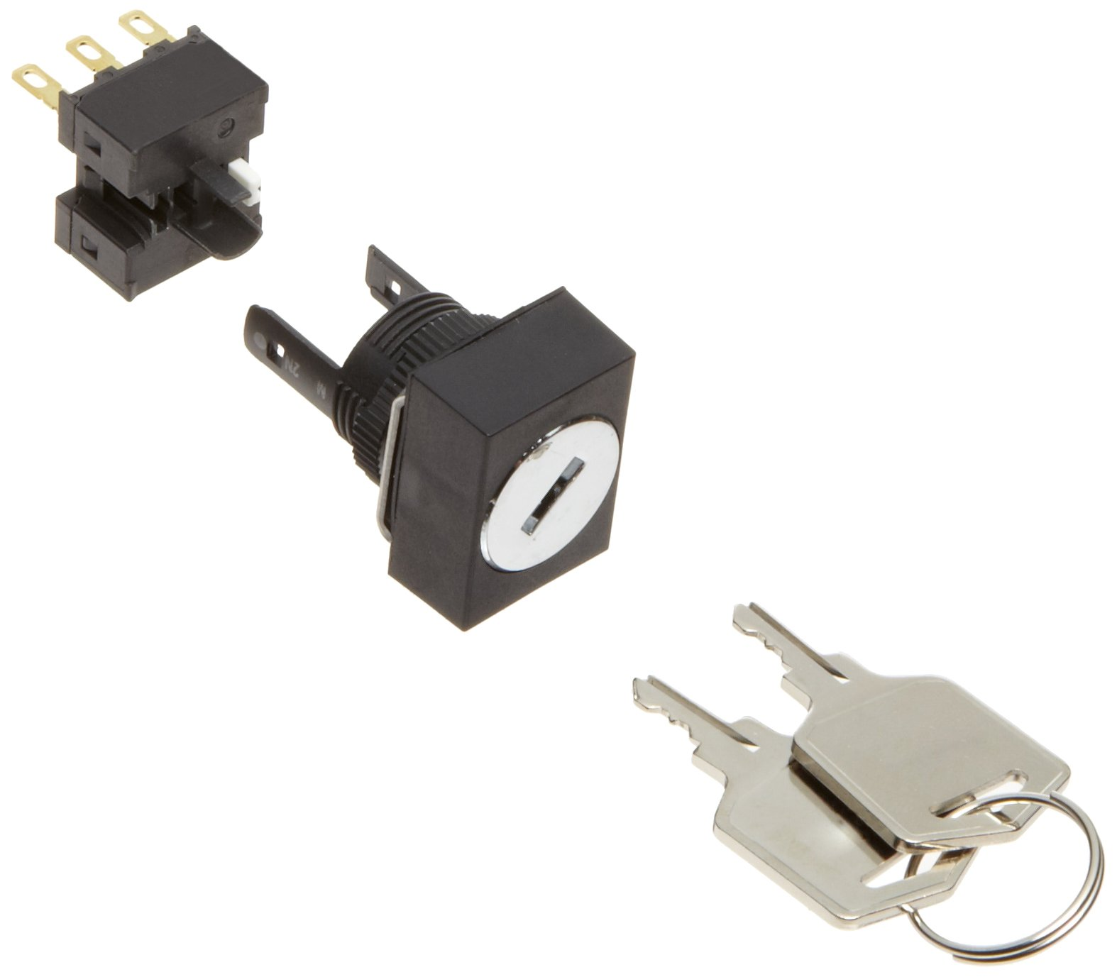 Omron A165K-J2ML-1 Key Type Selector and Switch, Solder Terminal, IP65 Oil Resistant, 16mm Mounting Aperture, 2 Notches, Manual Reset Method, Left Key Release Postion, Rectangular,Single Pole Double Throw Contacts