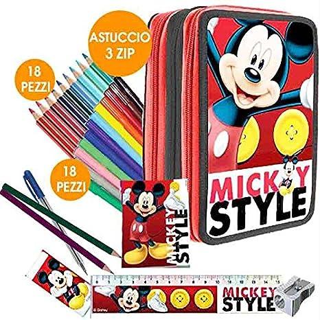 d8cb94cea7 Kit Scuola School Promo Pack Zaino Estensibile + Astuccio 3 Zip Disney  Mickey Mouse Topolino Edizione 2015-2016: Amazon.it: Giochi e giocattoli