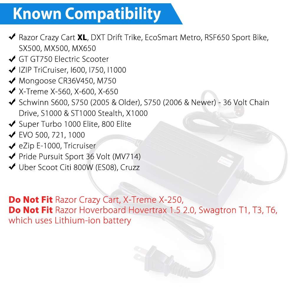 LotFancy 36V 1.5A Scooter Battery Charger for Razor MX500, MX650, GT GT750, IZIP I600, I750, I1000, Mongoose M750, X-Treme X-600, Schwinn S600 S750 ...