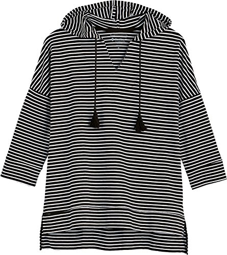 Coolibar UPF 50+ Women's Beach Hoodie - Sun Protective (X-Small- Fine Black/White Stripe) by Coolibar (Image #2)