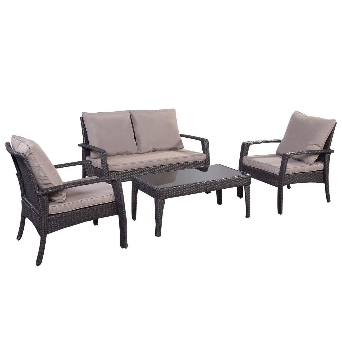 MD Group 4 pcs Wicker Rattan Seat Cushioned Set