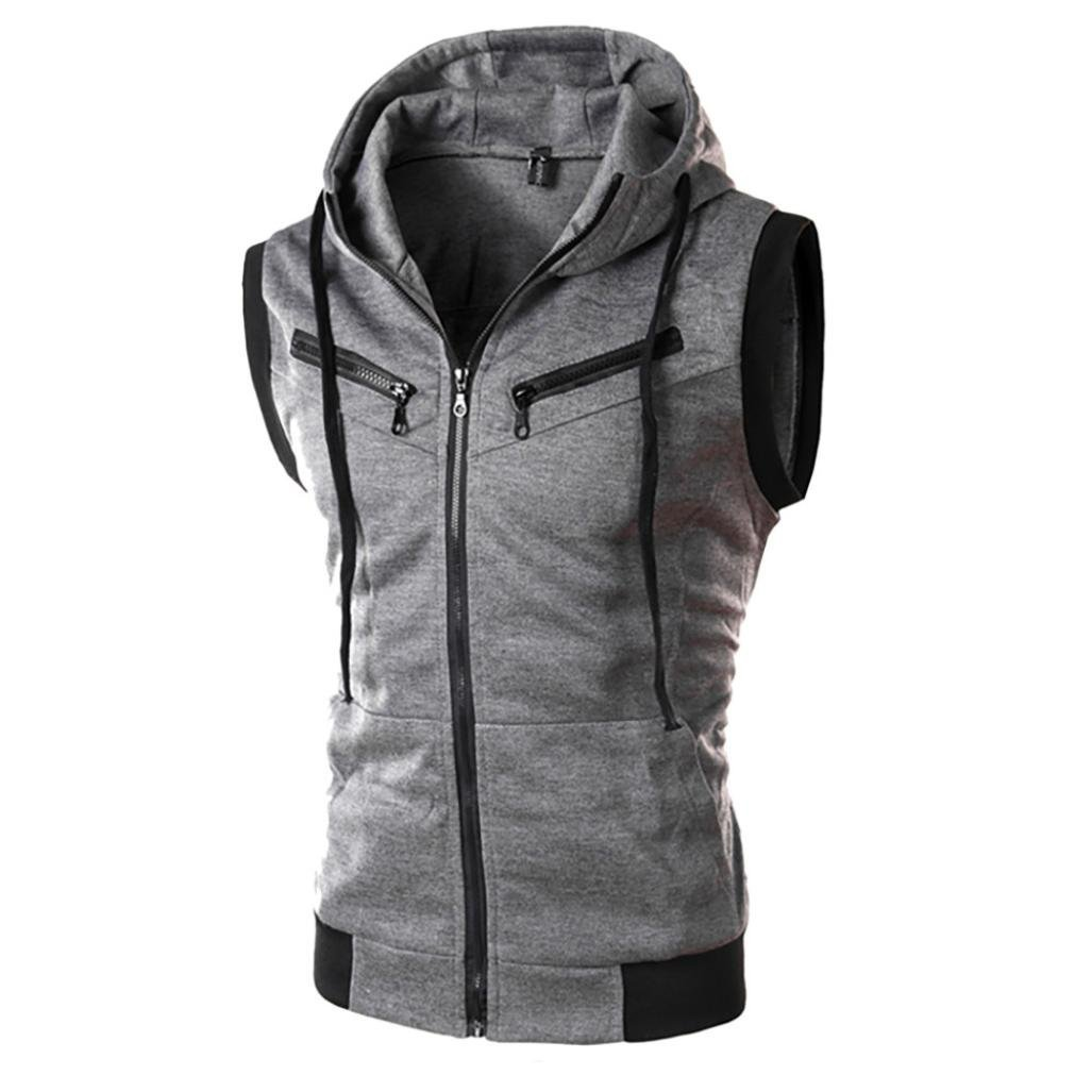 Casual Lightweight Sleeveless Zip-up Vest Tank Mens Hoodies Tops Fashion Hooded T-Shirts