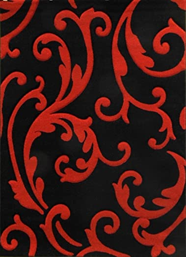 Hollywood Modern Area Rug Red Black Design 290 8ft.x10ft6in.