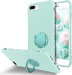 BENTOBEN iPhone 8 Plus Case, iPhone 7 Plus Case, Slim Silicone | 360° Ring Holder Kickstand Soft Rubber Hybrid Hard Drop Protection Shockproof Bumper Non-Slip Cute Girls Women Phone Covers, Mint Green