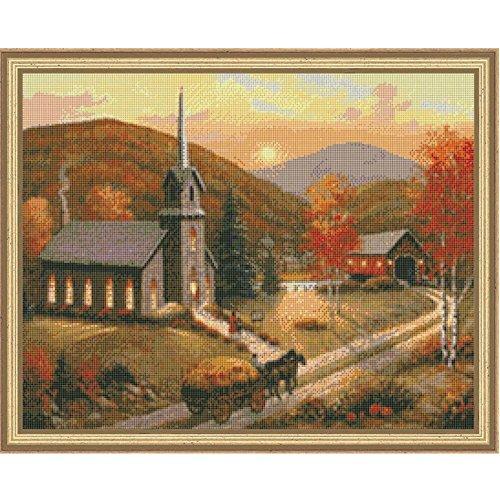 Kustom Krafts Inc Autumn in Vermont Kit & Frame Counted Cross-Stitch