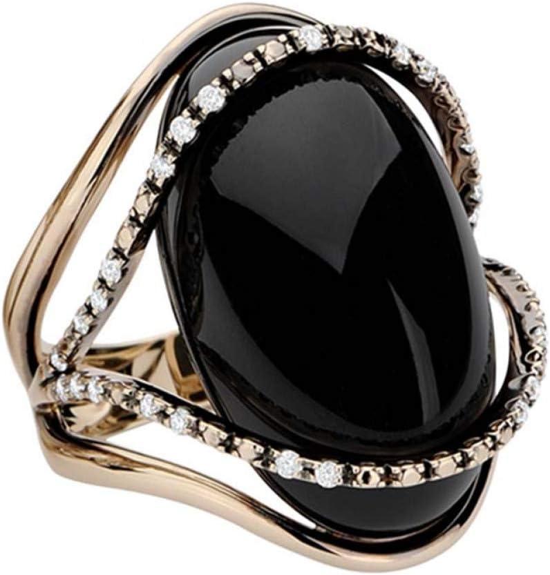 CTDMMJ Anillos de Piedra Negros Grandes para Mujeres Joyas Hueco Amor Corazón Giro Anillos de Boda de Cristal de Metal