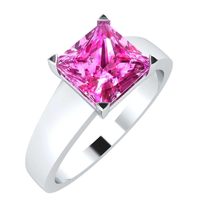 Amazon.com: 3djewels 1.50 Ct Princess Cut Pink Sapphire Sterling ...