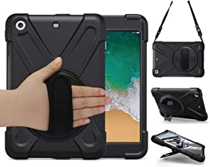 iPad Mini Case TSQ [iPad Mini 3 Case][iPad Mini 2 Case] Heavy Duty Rugged Protective Shockproof Cover With 360 Degree Rotating Stand, Handle Hand Strap/Shoulder Strap for iPad Mini case for Kids Black