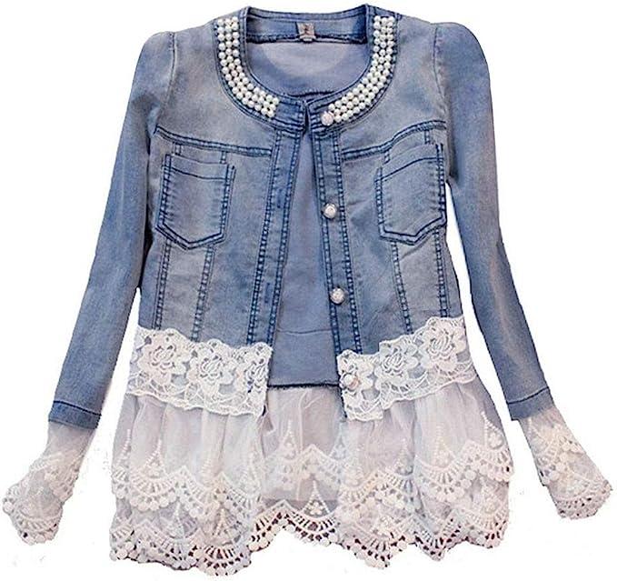 Avondii Damen Jeansjacke mit Spitze und Perlen Kurz Blau Denim Jacke Tops J1023