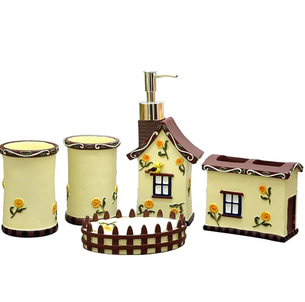 JynXos Resin 5 Pieces Bathroom Accessory Collection Set With Countryside Home Design Design For Home