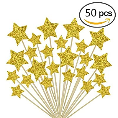 Jelacy 50 Pcs Gold Star Cupcake Toppers,Star Cupcake Toppers Twinkle Twinkle Little Star Decorations Birthday Cupcake Toppers Glitter Gold Cupcake Toppers for Party Cake Decorations