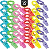 Whistle for Kids with Bracelet - (Pack of 36) Bulk Whistles and Stretchable Coil Wrist Keychain Bracelets in Assorted Colors for Goodie Bag Fillers and Birthday Party Favors by Bedwina