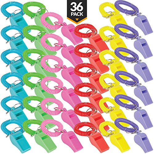 Whistle for Kids with Bracelet - (Pack of 36) Bulk Whistles and Stretchable Coil Wrist Keychain Bracelets in Assorted Colors for Goodie Bag Fillers and Birthday Party Favors by Bedwina -