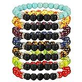 FIBO STEEL Mens Bracelet 7 Chakras Gemstone Bracelets for Men Women Natural Lava Rock Beads Healing Energy Yoga Bracelets F