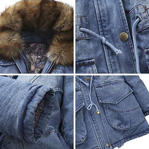 Capuche Manteau Slim Fausse Hiver Fourrure À Jeans Veste Parka Fit Femme Doublé Vertvie Bleu Longue Épais Blouson Chaud 5FZ7q6