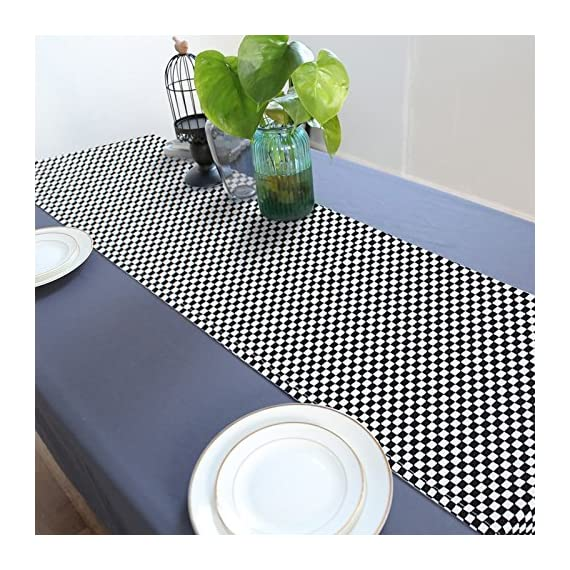 Suppromo Plaid Checkered Table Runners Black White Gingham Table Runner Cotton/Linen Blend Table Runner for Family Kitchen Dinners or Gatherings, Indoor or Outdoor Parties, Everyday Use - PACKAGE: 1 Set of Rustic Table Runners(Black and White , Square checkered pattern)included,Size 11.8 x 70.8 inch.Gingham Table Runners both ends have Black small pompoms-very cute HIGH QUALITY MATERIAL: Cotton/Linen Blend table runners Texture clear, durable, tightly woven, wrinkle-resistant and with a decent, well-sewn hem, the material is very soft and doesn't scratch or irritate your skin and Not easily deformed. FOR ALL OCCASIONS - Perfect Christmas, Halloween, Easter, Birthday Parties, and Barbecue evenings, our table runner will add to the festive look, it is also suit for family home kitchen farmhouse , dining, outdoor picnic and hanging from your stove as decor. - table-runners, kitchen-dining-room-table-linens, kitchen-dining-room - 61RBBL7m52L. SS570  -
