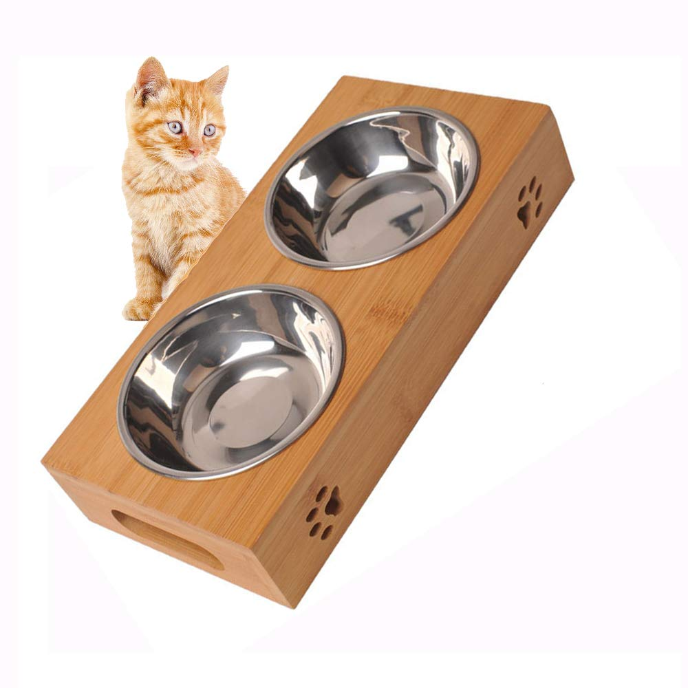 Bamboo Stand Dog Cat Food and Water Bowls Stands Feeder Dishes with 2 Stainless Steel Bowls