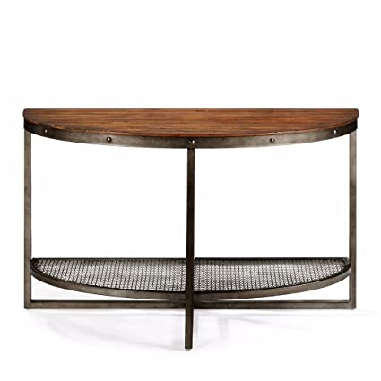 Industrial Modern Wood And Metal Demilune Sofa Console Table With Wire Mesh  Shelf   Includes Modhaus