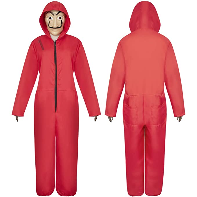 Unisex The Paper House La Casa De Papel Costume Hoodie Jumpsuits, Salvador Dali Red Overall Cosplay Clothing with Mask