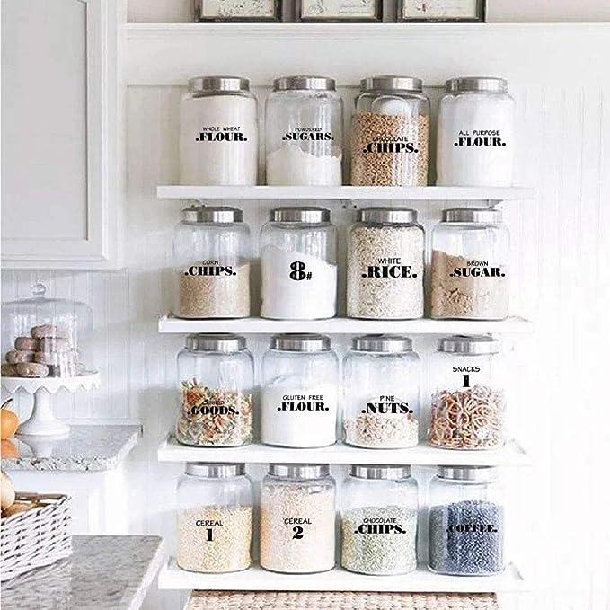 132 Pezzi Etichette Autoadesive Etichetta Adesivi da Classificazione Alimentare Impermeabile Etichette Trasparenti per Barattoli Cucina Ristorante