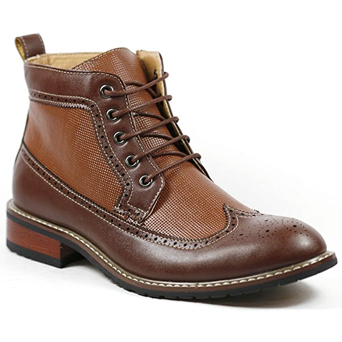 Mens Vintage Style Shoes| Retro Classic Shoes Mens Brown Lace Up Wing Tip Perforated Dress Ankle Boot $44.99 AT vintagedancer.com