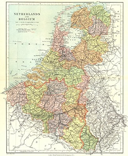 benelux netherlands belgium luxembourg showing provinces stanford 1906 map